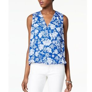 INC Faux Wrap Floral-Print Top